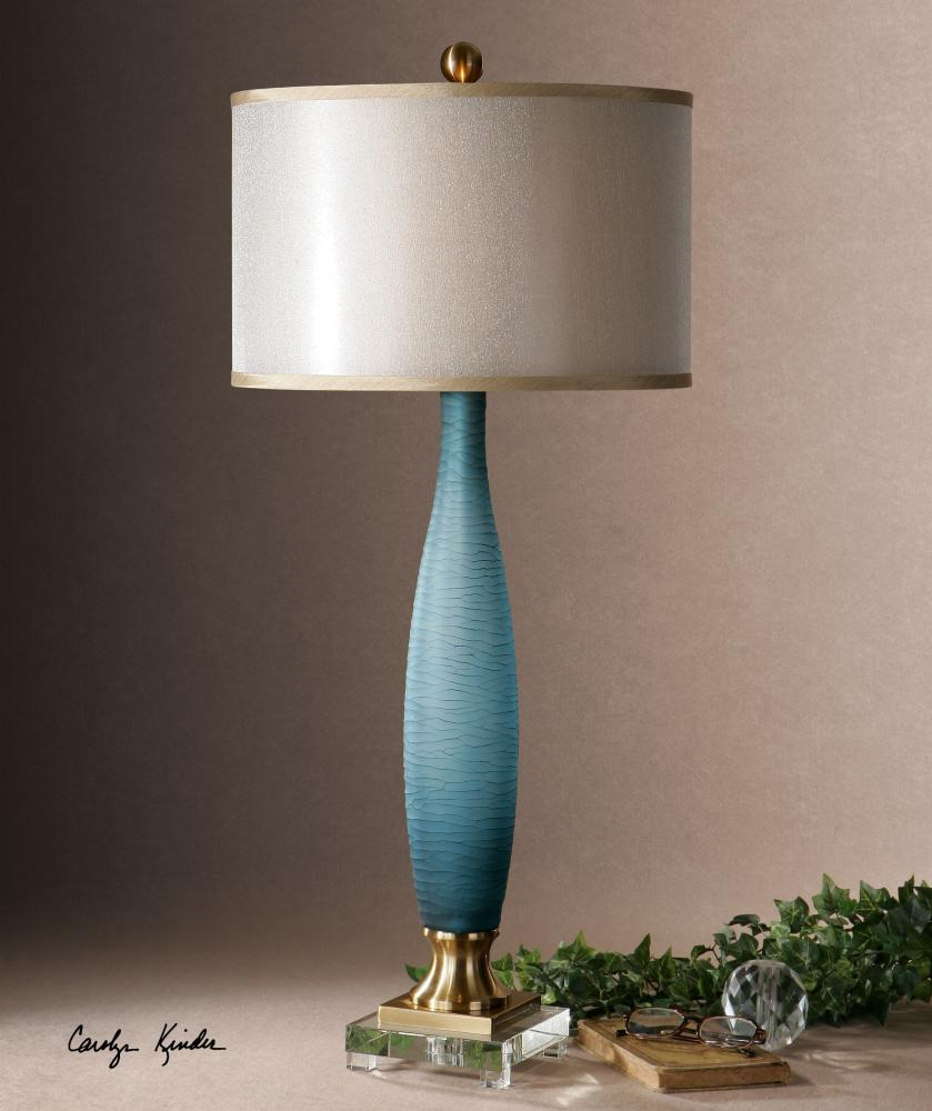 Uttermost Blue Glass And Brass Alaia Table Lamp With