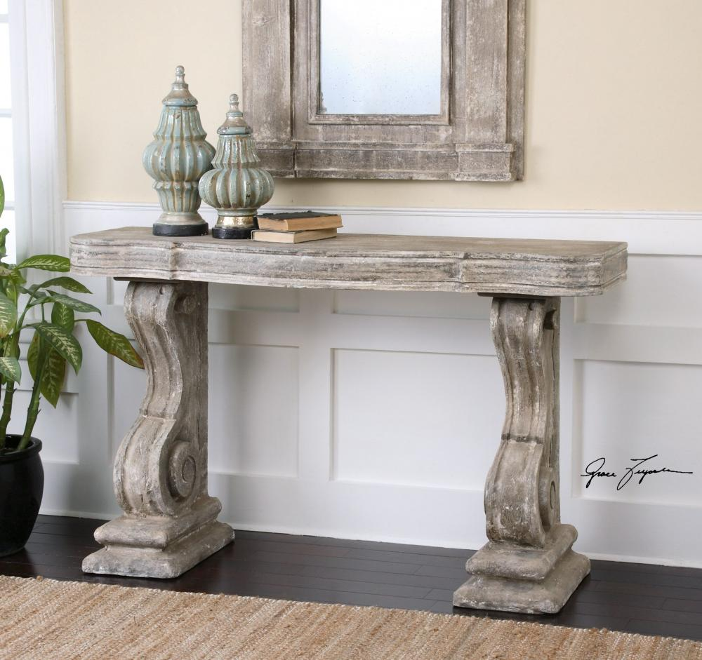 Uttermost Distressed Stone Gray With Ivory Wash Partemio Console Table 24409 From Collection