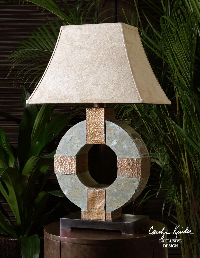 Uttermost Hand Carved Slate Body Indoor Outdoor Table Lamp