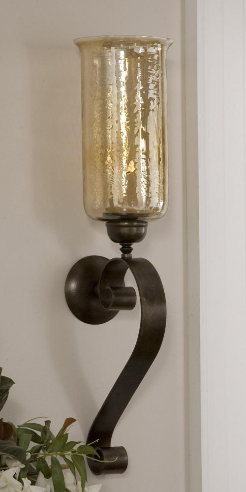 Uttermost Antiqued Bronze Joselyn Candle Wall Sconce With Glass Globe