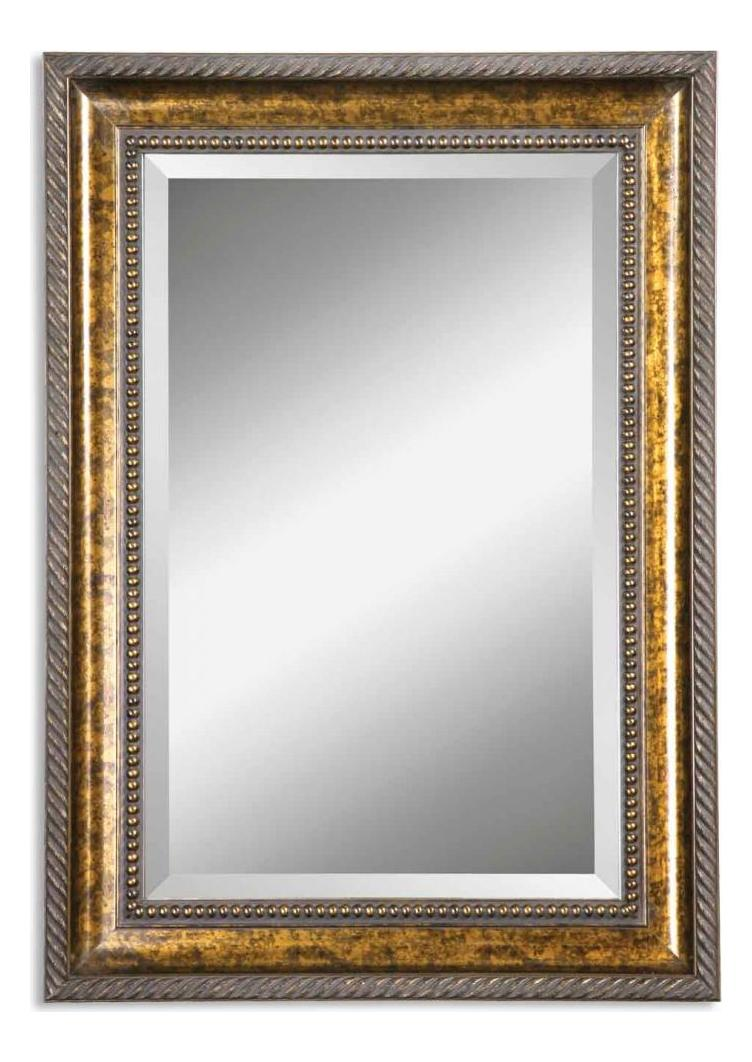 Uttermost B Brown Stain With Gold Leaf Undercoat Sinatra Vanity Beveled Mirror