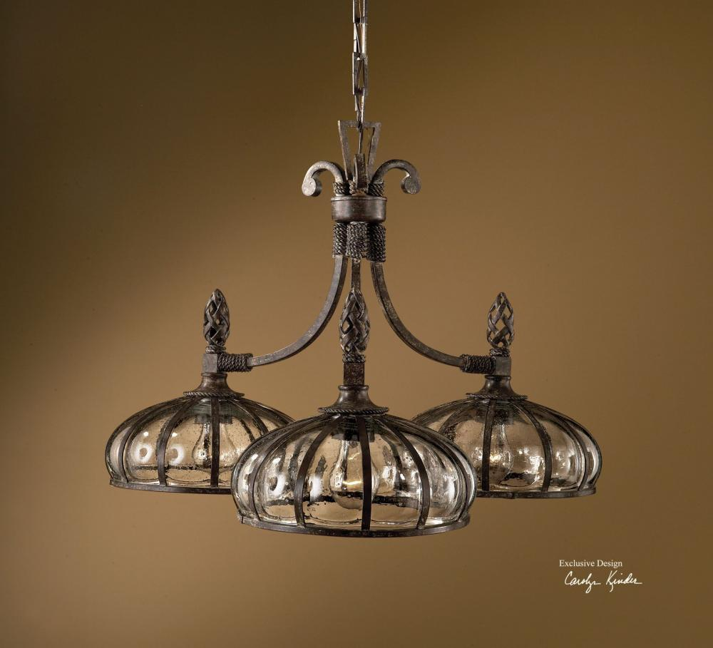 Uttermost Antique Saddle Galeana 3 Light Single Tier Chandelier
