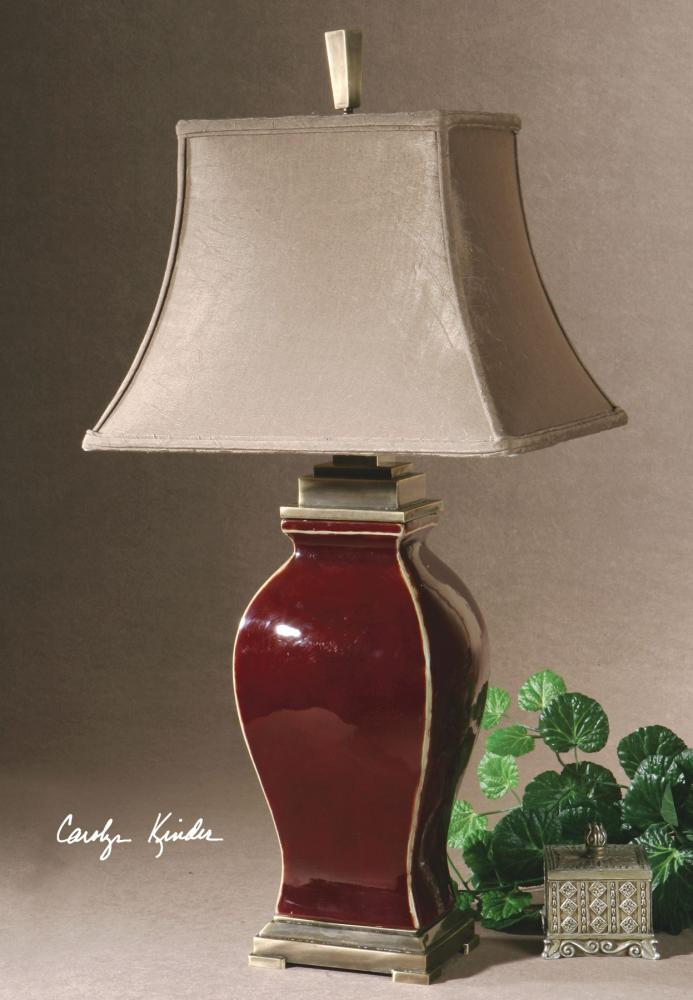 Uttermost Burgundy Ceramic With Bronze Metal Detail Rory