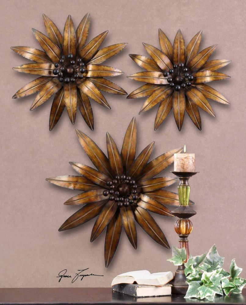 Uttermost Antiqued Gold Gazanias Set Of 3 Flower Metal ...