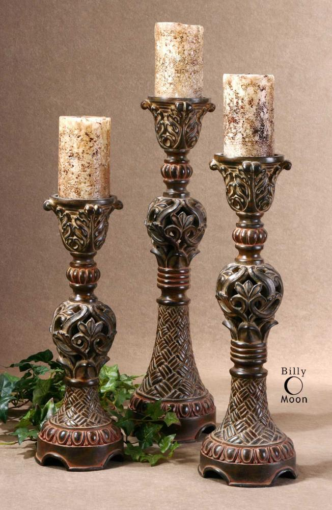 Uttermost Distressed Walnut Brown Rosina Set Of 3 Intricately Carved Candlesticks