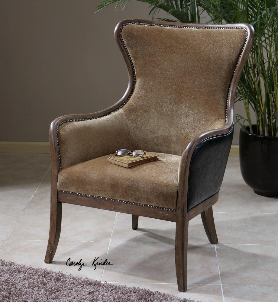 Uttermost Wood And Velvet Snowden Velvet Chair With Faux