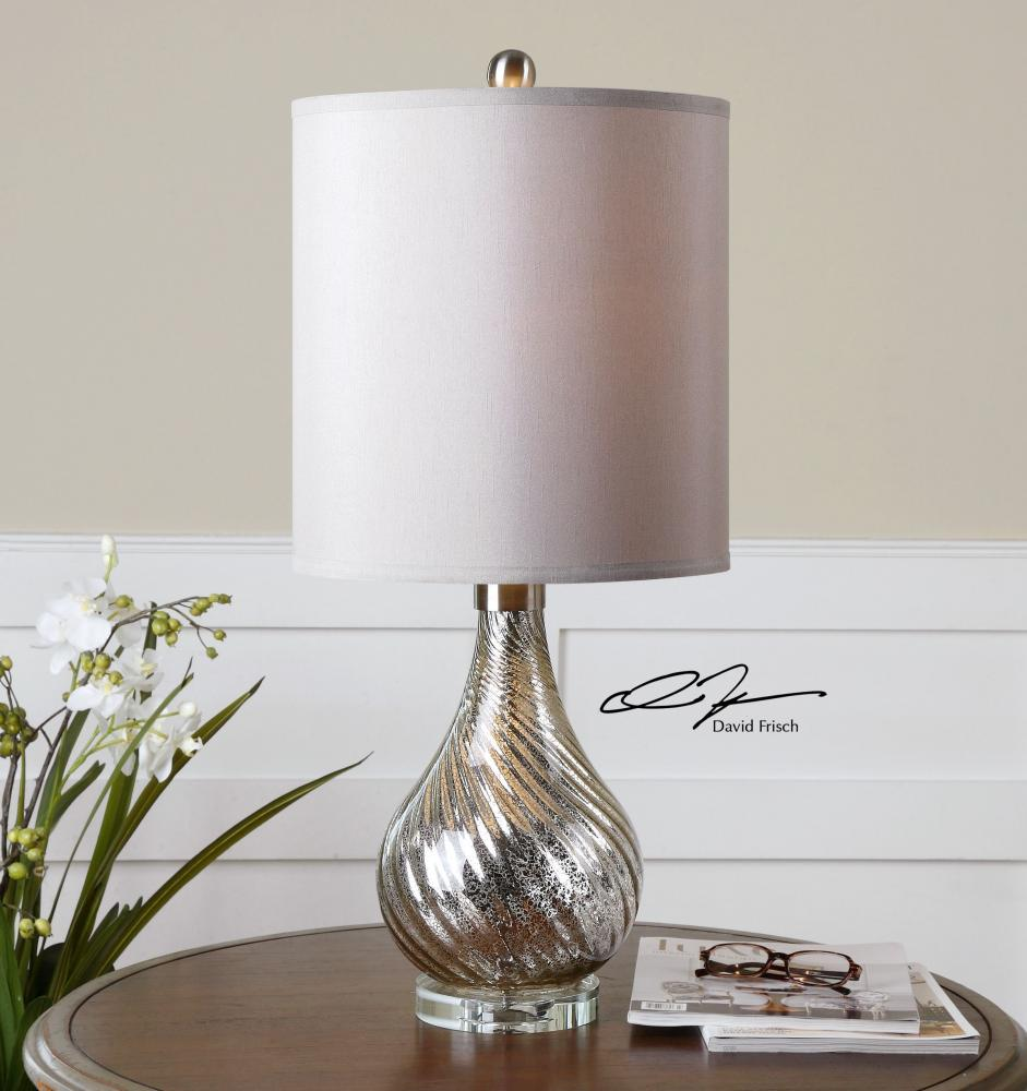 Uttermost Glass And Brushed Aluminum Girona Table Lamp