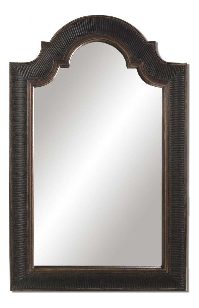 Uttermost P Antique Black With Gold Accent Arched Top Wall Mirror