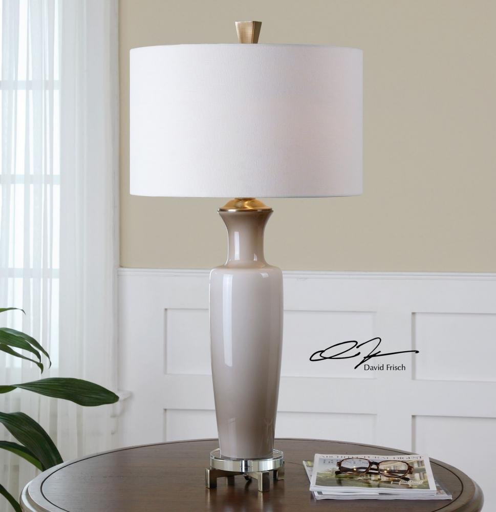 Uttermost Gray Glass And Bronze Consuela Table Lamp With