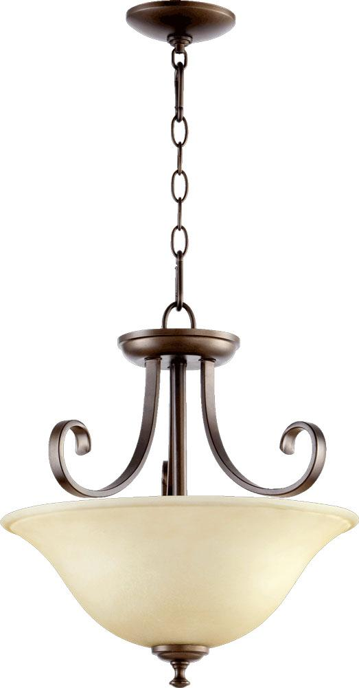 quorum two light bronze scavo glass up pendant