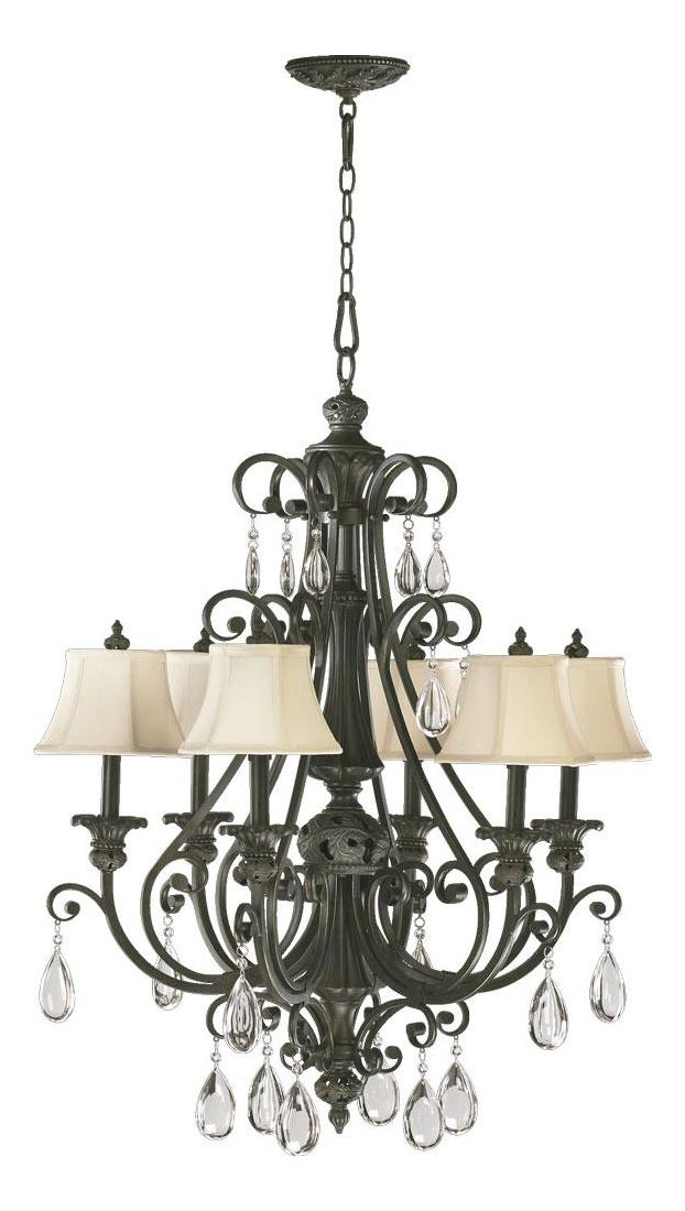 Quorum Six Light Classic Bronze Up Chandelier Classic
