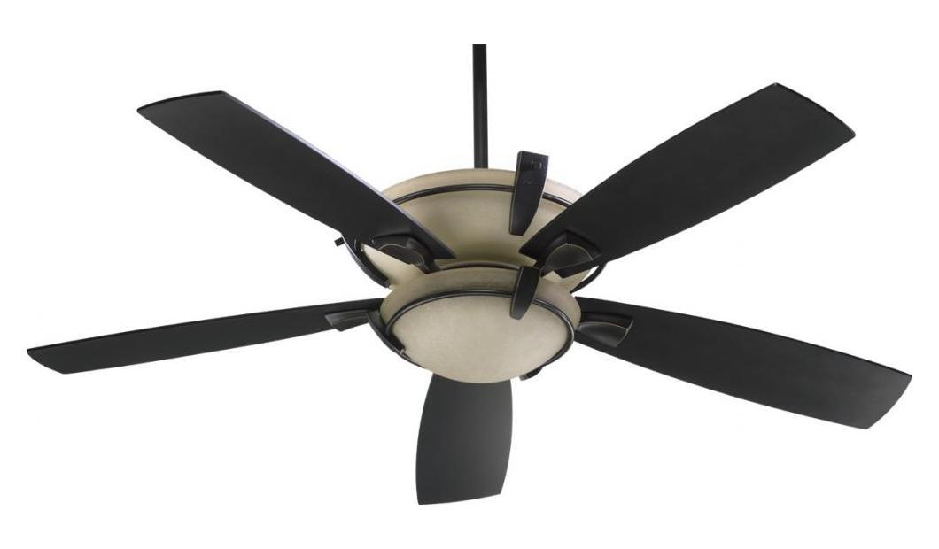 Quorum Three Light Old World Ceiling Fan Black 61525 995