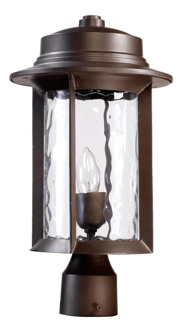 Quorum One Light Oiled Bronze Clear Hammered Glass Post