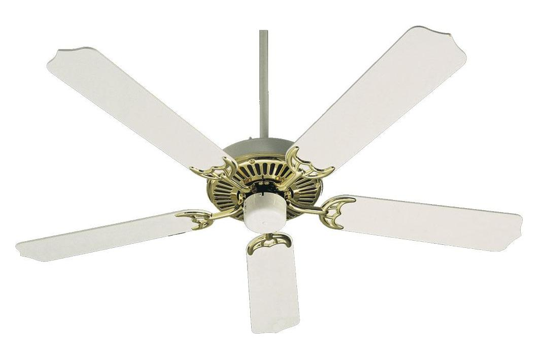 Quorum Polished Brass With White Ceiling Fan Polished