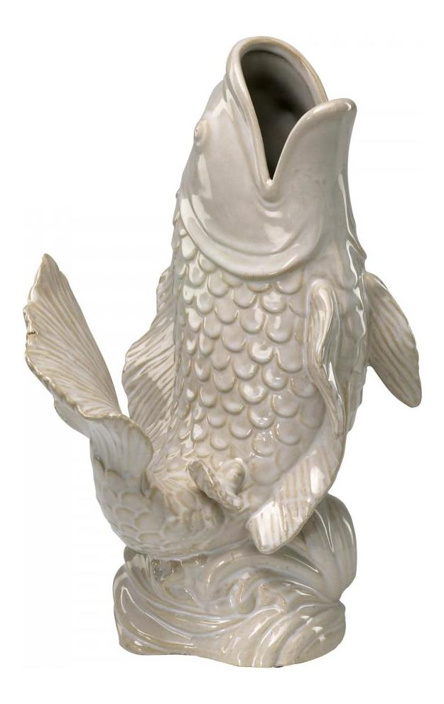 Cyan designs gloss white glaze 16in white koi fish vase for Koi fish vase