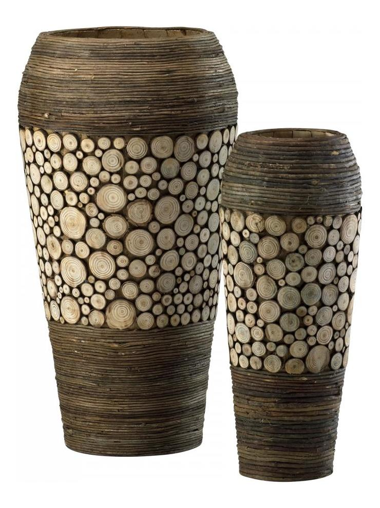 Cyan Designs Birchwood and Walnut 20.25in. Wood Slice Oblong Vases