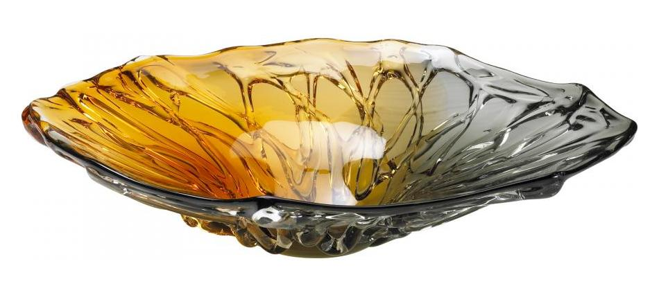 Cyan Designs Amber And Smoked Duo Art Glass Plate Yellow