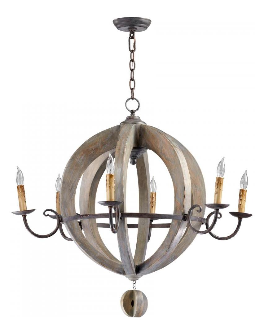Cyan Designs Stained Wood Barrel 6 Light 1 Tier Chandelier