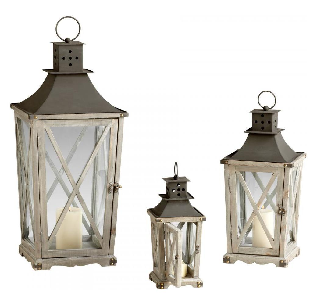 Cyan Designs Weathered Pine and Rust Cornwall Lanterns