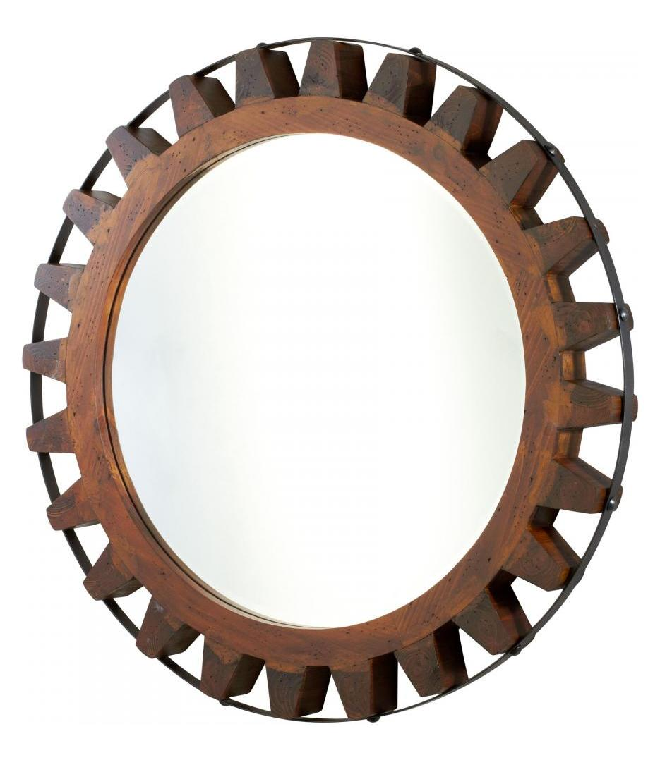Cyan Designs Raw Iron and Natural Wood Landry Rounded Mirror
