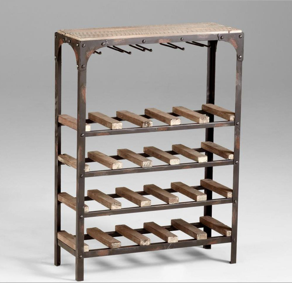Cyan Designs Raw Iron / Natural Wood 34in. Gallatin Wine Rack Wine Rack
