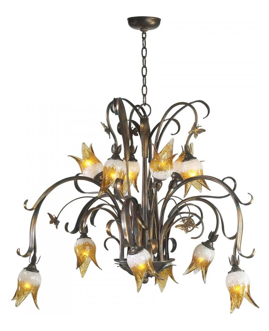 Cyan Designs Venetian Iron 12 Light Down Lighting Chandelier from the Papillion Collection