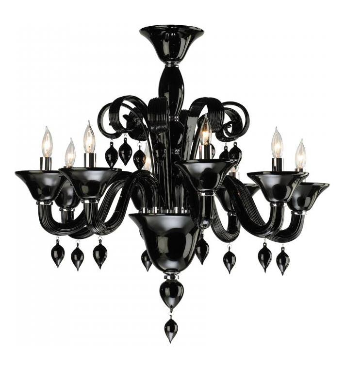 Cyan Designs Eight Light Chrome Black Murano Glass Up Chandelier