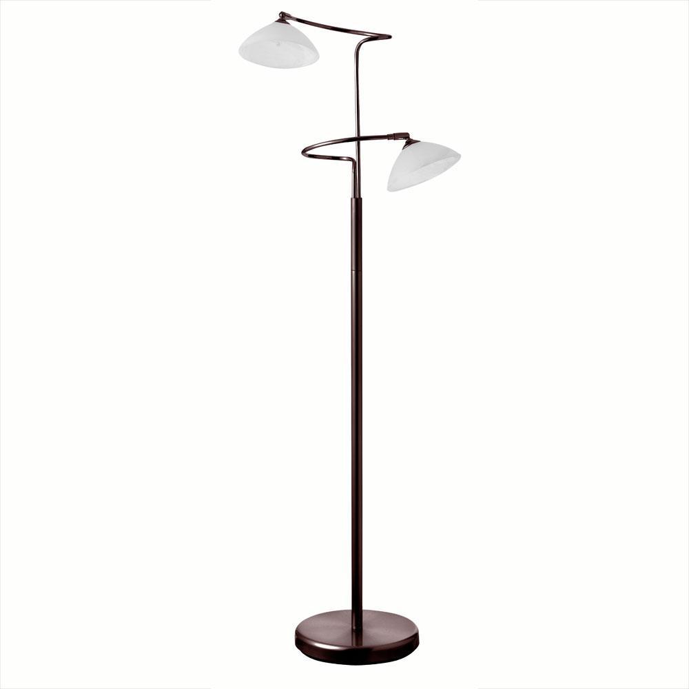 Dainolite Oil Brushed Bronze 2 Light Floor Lamp White 714f