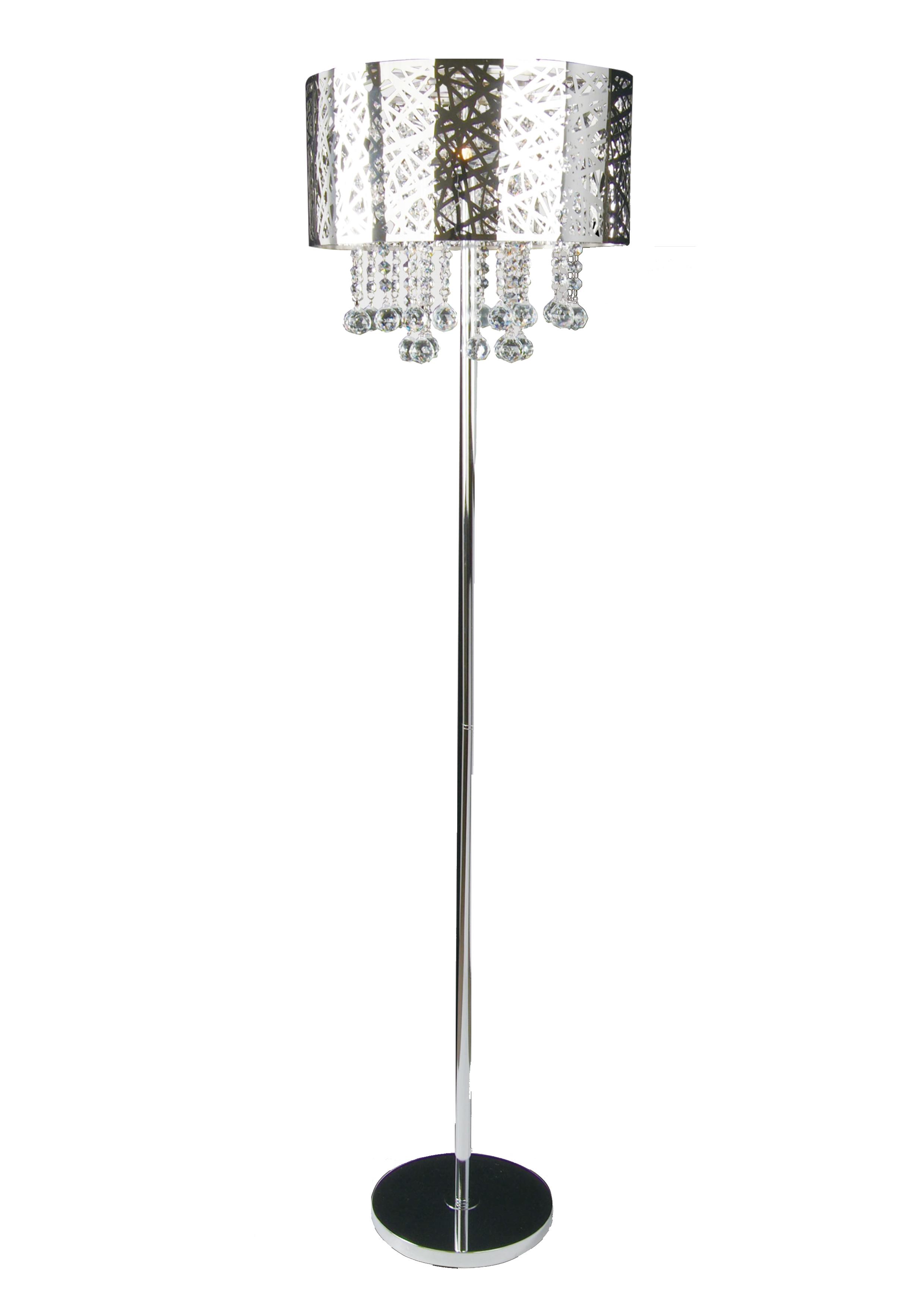 Bethel 3 Light Chrome Shade Clear Crystal Floor Lamp Ol04