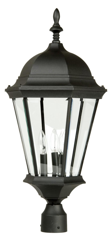 Craftmade Matte Black Straight Glass 3 Light Outdoor Post