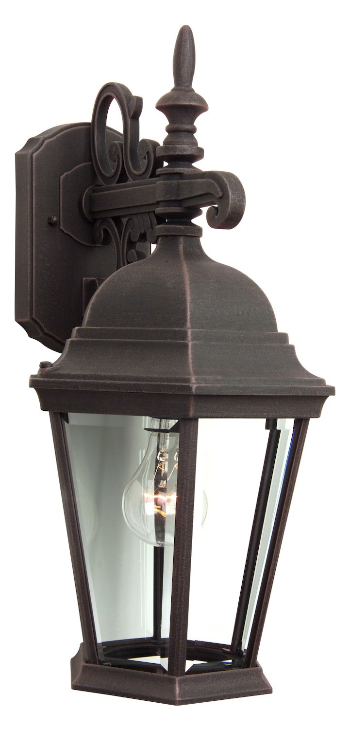 Craftmade Wall Lantern With Beveled Glass Shades Rust
