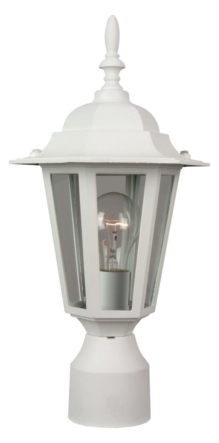 craftmade hex 1 light up lighting outdoor post in white white z155 04