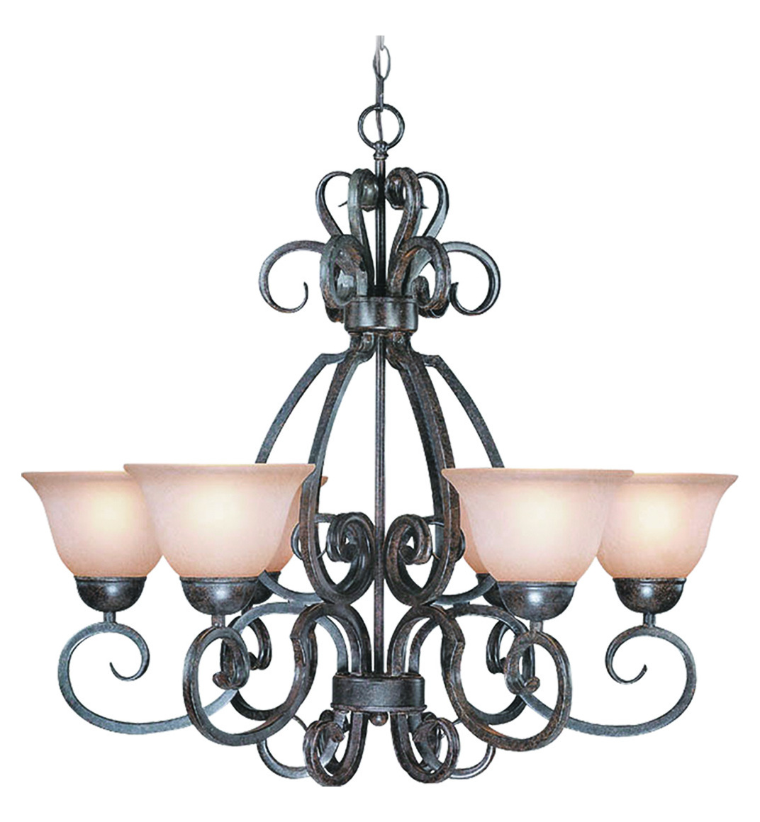 Craftmade Six Light Forged Metal Painted Glass Up Chandelier
