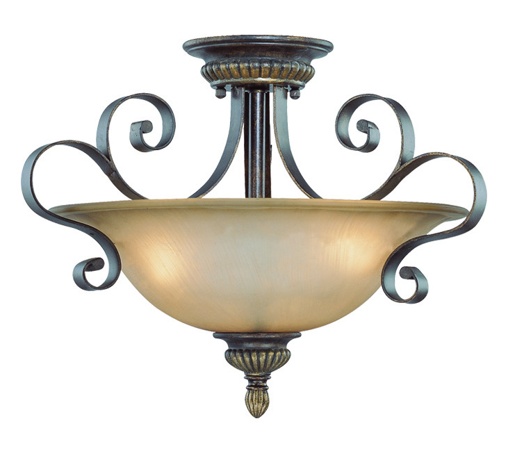 Craftmade Three Light Century Bronze Painted Glass Bowl Semi-Flush Mount