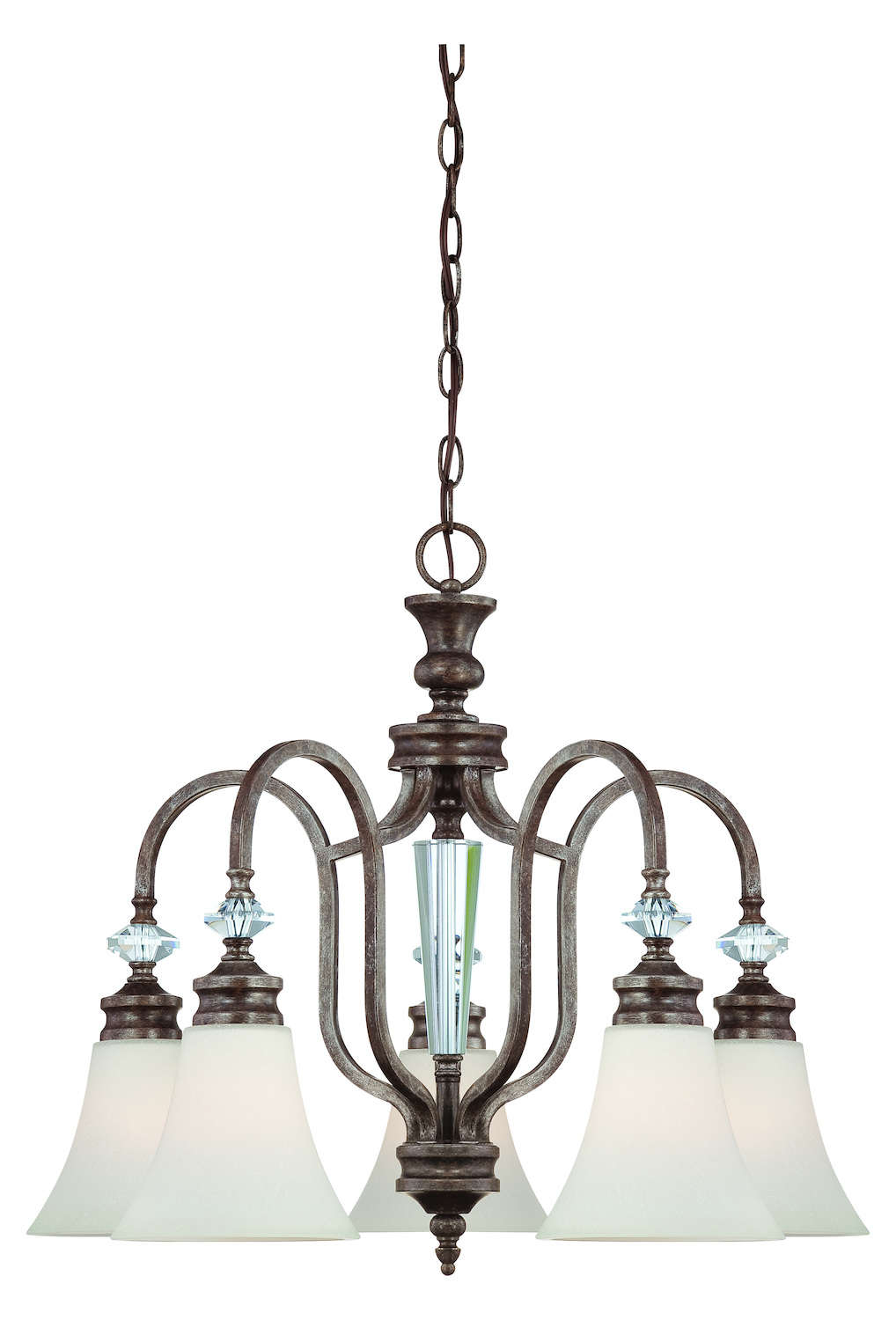 Craftmade Five Light Mocha Bronze Creamy Etched Glass Down Chandelier
