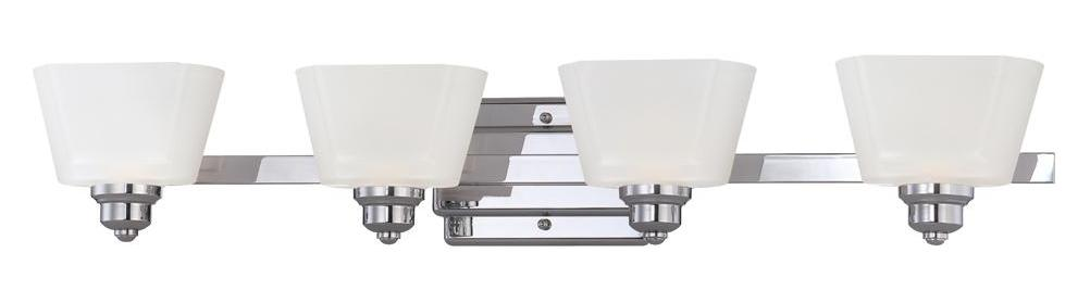 Designers Fountain Chrome 4 Light Bathroom Fixture from the Metropolis Collection