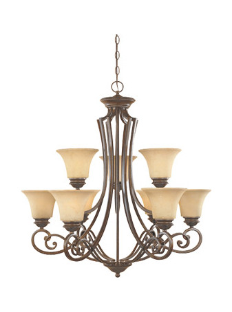 Designers Fountain Forged Sienna Nine Light Up Lighting Two Tier Chandelier Mendocino Collection
