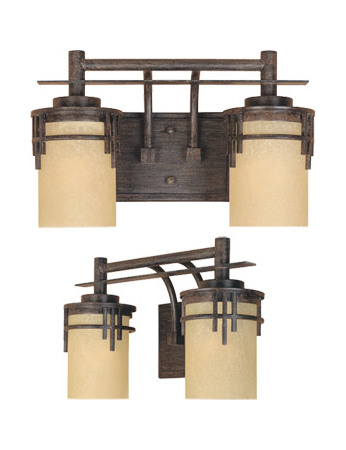 Designers Fountain Warm Mahogany Asian Two Light Down Lighting 14.5