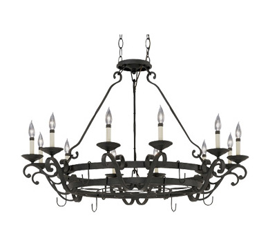 Designers Fountain Natural Iron 12 Light Chandelier from the Barcelona Collection