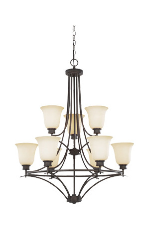 Designers Fountain Oil Rubbed Bronze Nine Light Up Lighting Two Tier Chandelier