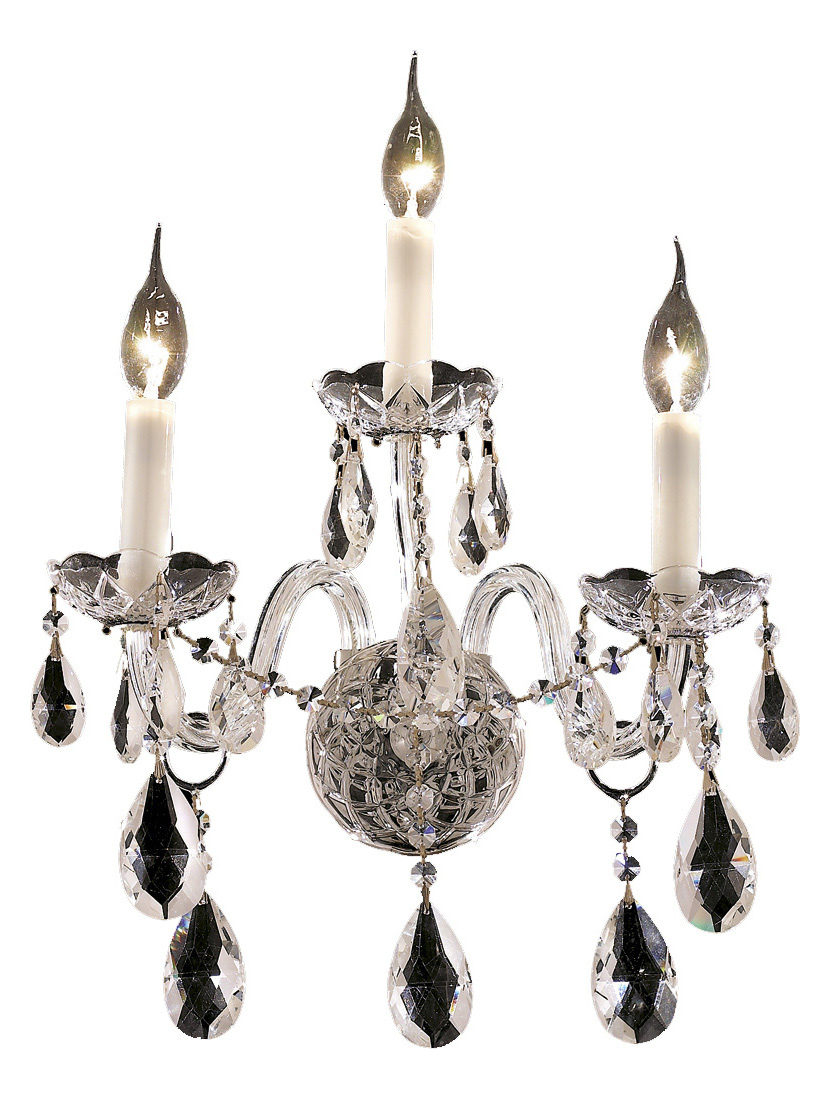 Elegant Crystal Wall Sconces : Elegant Lighting Elegant Cut Clear Crystal Alexandria 3-Light Crystal Wall Sconce Chrome 7829W3C ...