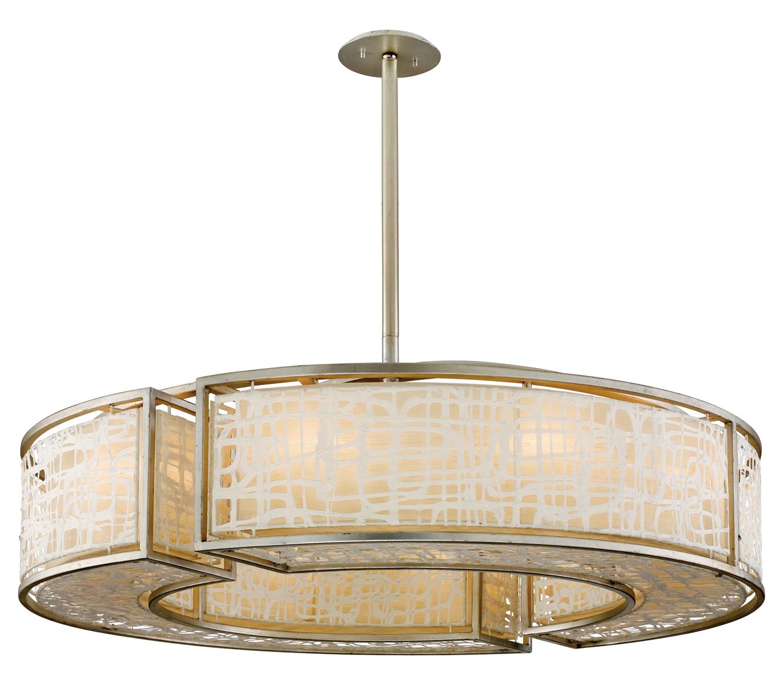 corbett ten light silver leaf drum shade pendant silver leaf   - home  ceiling lights · corbett ten light silver leaf drum shade pendant
