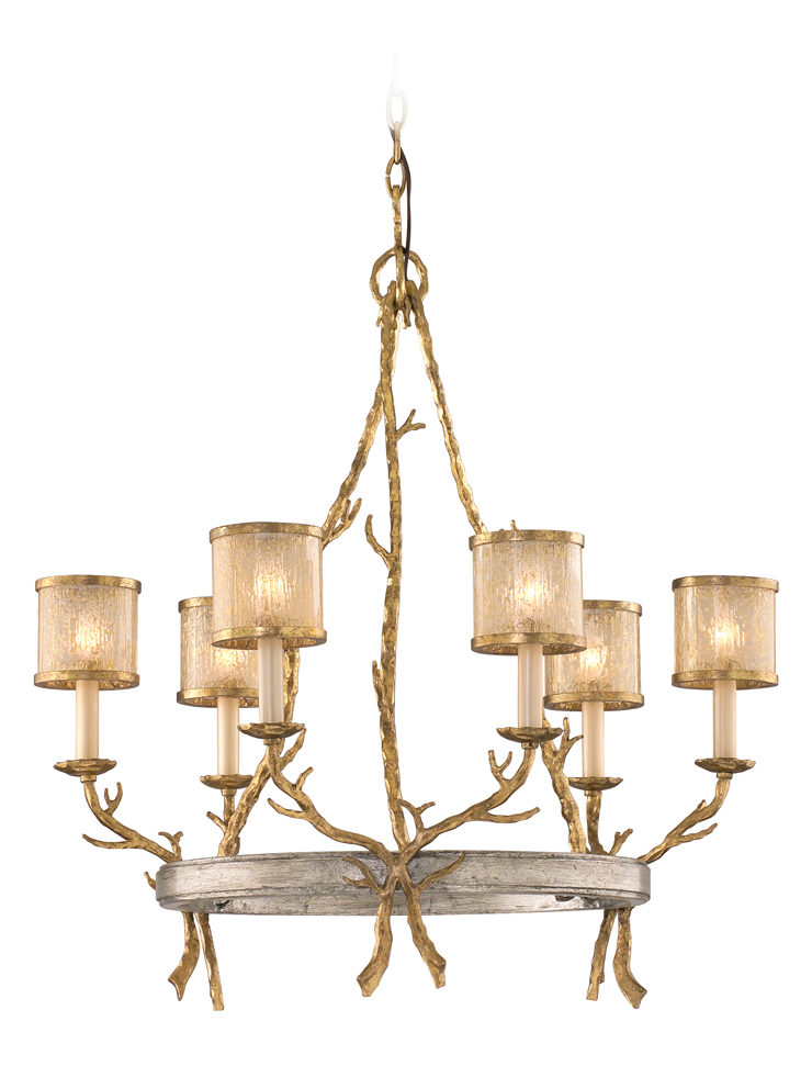Corbett Six Light Gold And Silver Leaf Up Chandelier