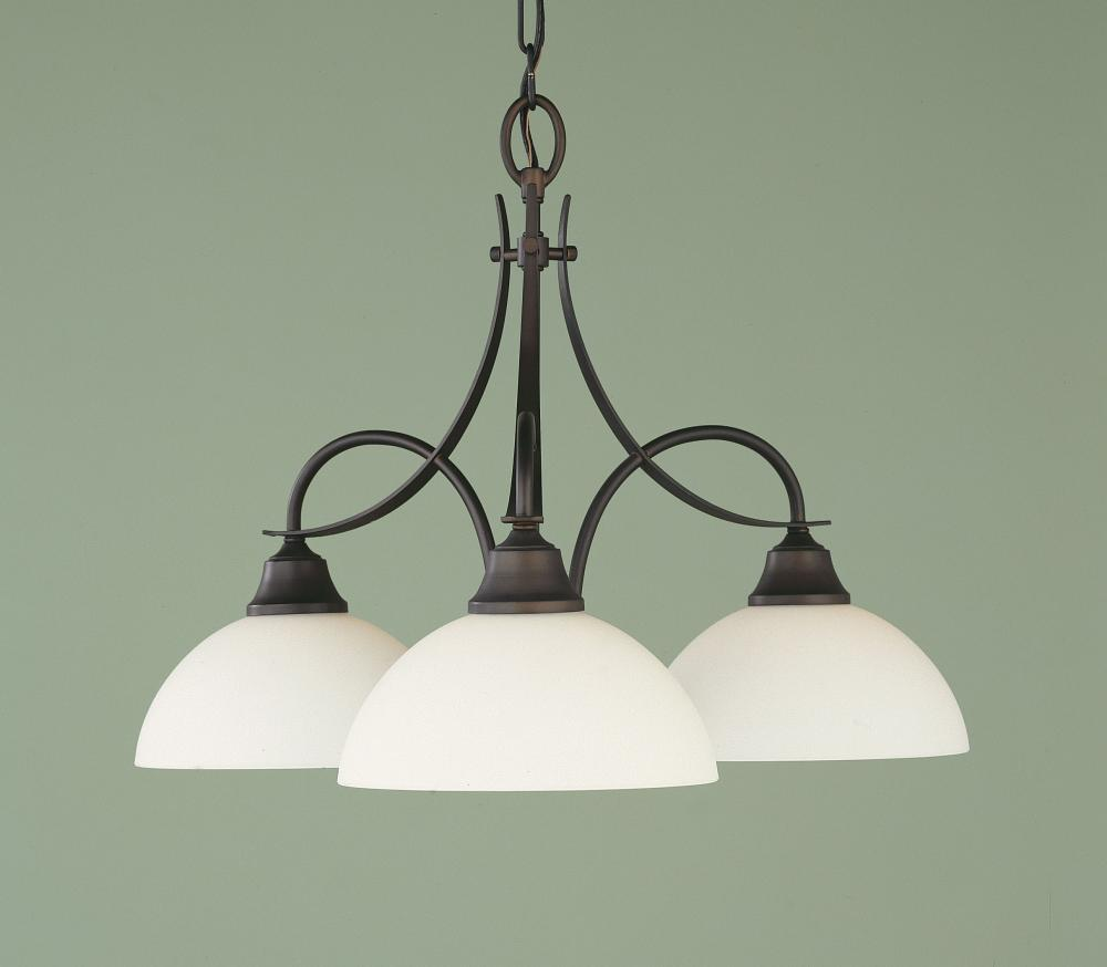Feiss Three Light Oil Rubbed Bronze Opal White Etched Glass Down Chandelier Oil Rubbed Bronze