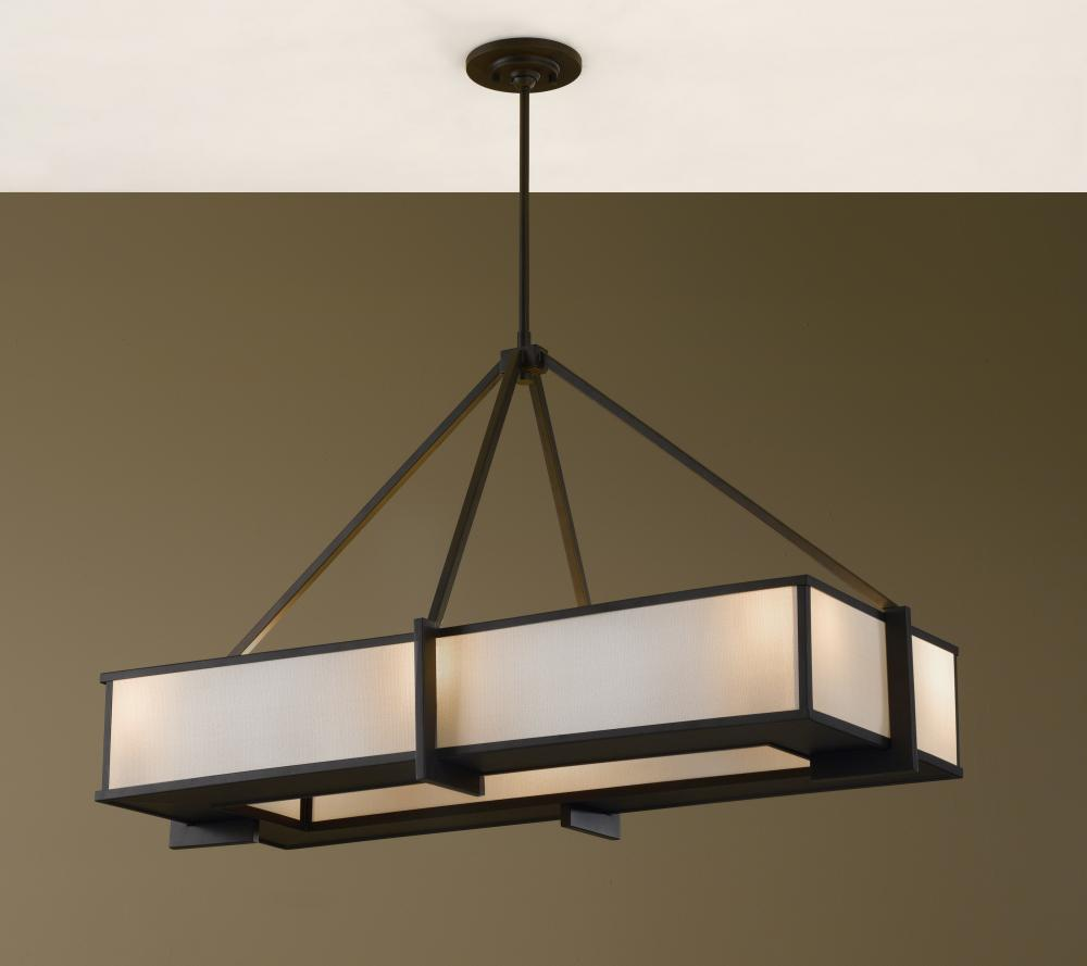 Oil Rubbed Bronze Kitchen Island Lighting Feiss Six Light Oil Rubbed Bronze Cream Linen Shade Island Light