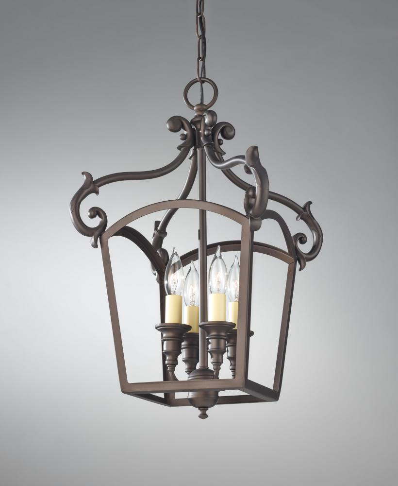Foyer Lighting Oil Rubbed Bronze : Feiss four light oil rubbed bronze open frame foyer hall