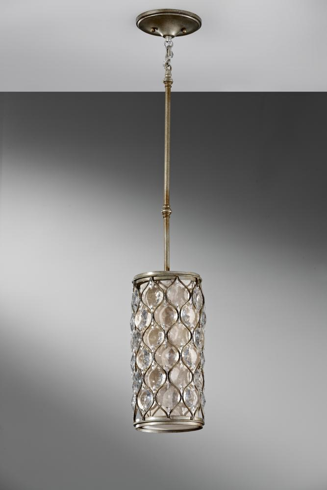 Feiss One Light Linen Diffuser Shade Burnished Silver Drum
