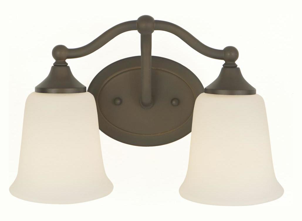 Feiss Canterbury 3 Light Vanity Fixture Oil Rubbed Bronze: Feiss Two Light Oil Rubbed Bronze White Opal Acid Etch