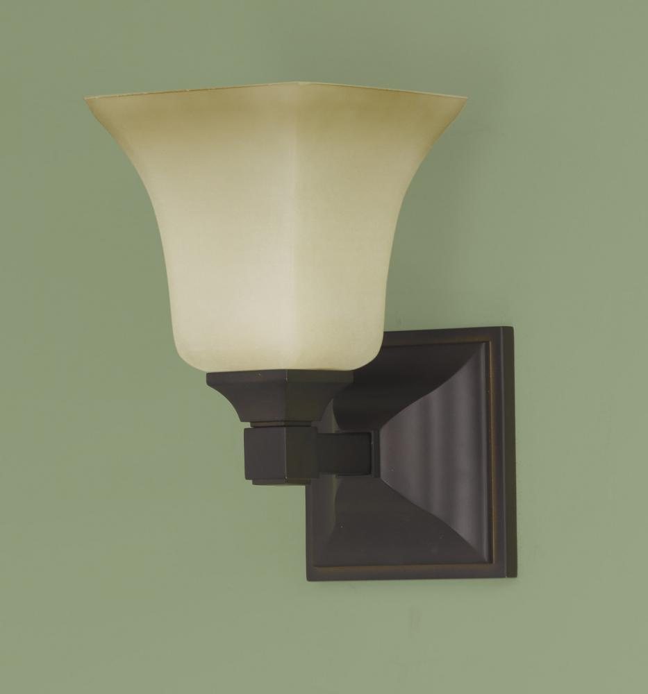 Feiss one light oil rubbed bronze excavation glass bathroom sconce oil rubbed bronze vs12401 orb for Bathroom wall sconces oil rubbed bronze
