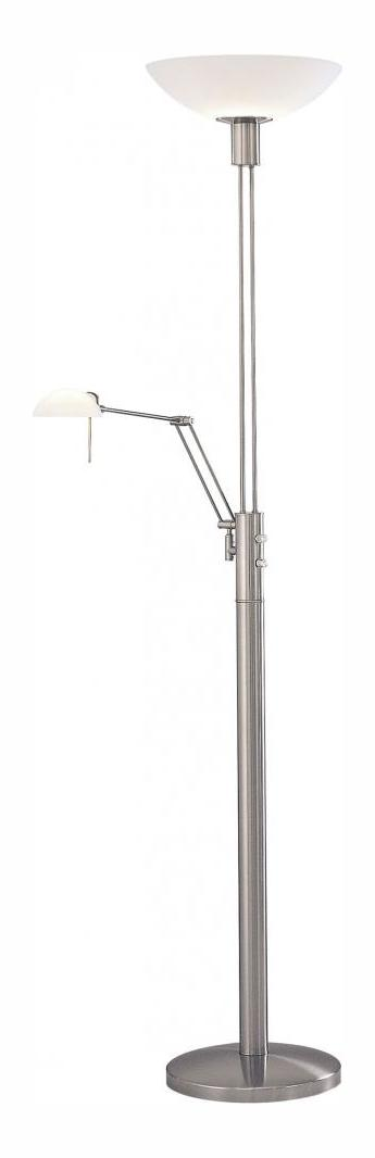 Minka George Kovacs Two Light Brushed Nickel Etched Opal Glass Floor Lamp